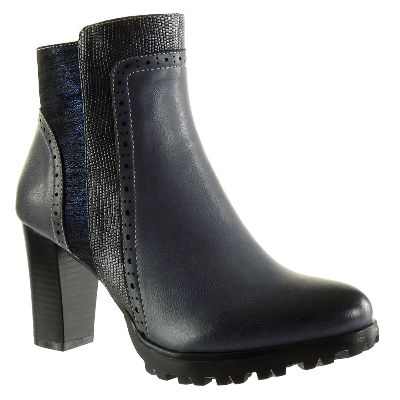 Angkorly Damen Schuhe Stiefeletten - Reitstiefel - Kavalier - Combat Boots  - Schlangenhaut - Perforiert - Glänzende Blockabsatz High Heel 8 cm:  Amazon.de: ...