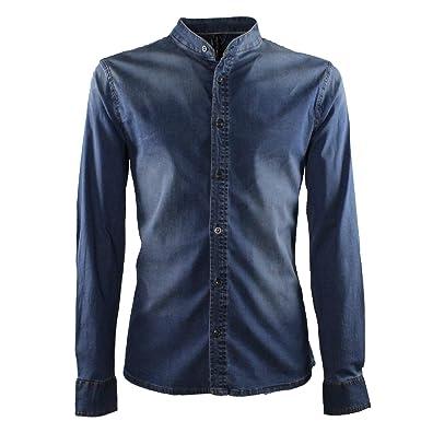 l'atteggiamento migliore 2e440 0560d Camicia Uomo di Jeans Collo Coreano Blu Elegante Slim Fit Manica Lunga  Sartoriale Classica Camicetta Denim Casual sotto Giacca