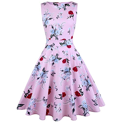 IHOT Womens Vintage 1950s Classy Rockabilly Retro Floral Pattern Print Cocktail Evening Swing Party Dress