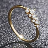 Simple 18k Gold Rings for Teen Girls White Sapphire Studded Eternity Wedding Ring 925 Sterling Silver Engagement Stackable Diamond Rings Women Fashion