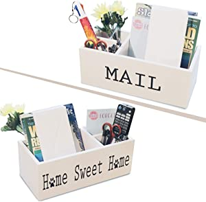 Mail Holder for countertop- Decorative Rustic Mail Organizer countertop - Mail Basket with Compartment-Multipurpose Mail Holder for Office Desk with paw Print, Home Sweet Home Sign- Rustic Home Decor