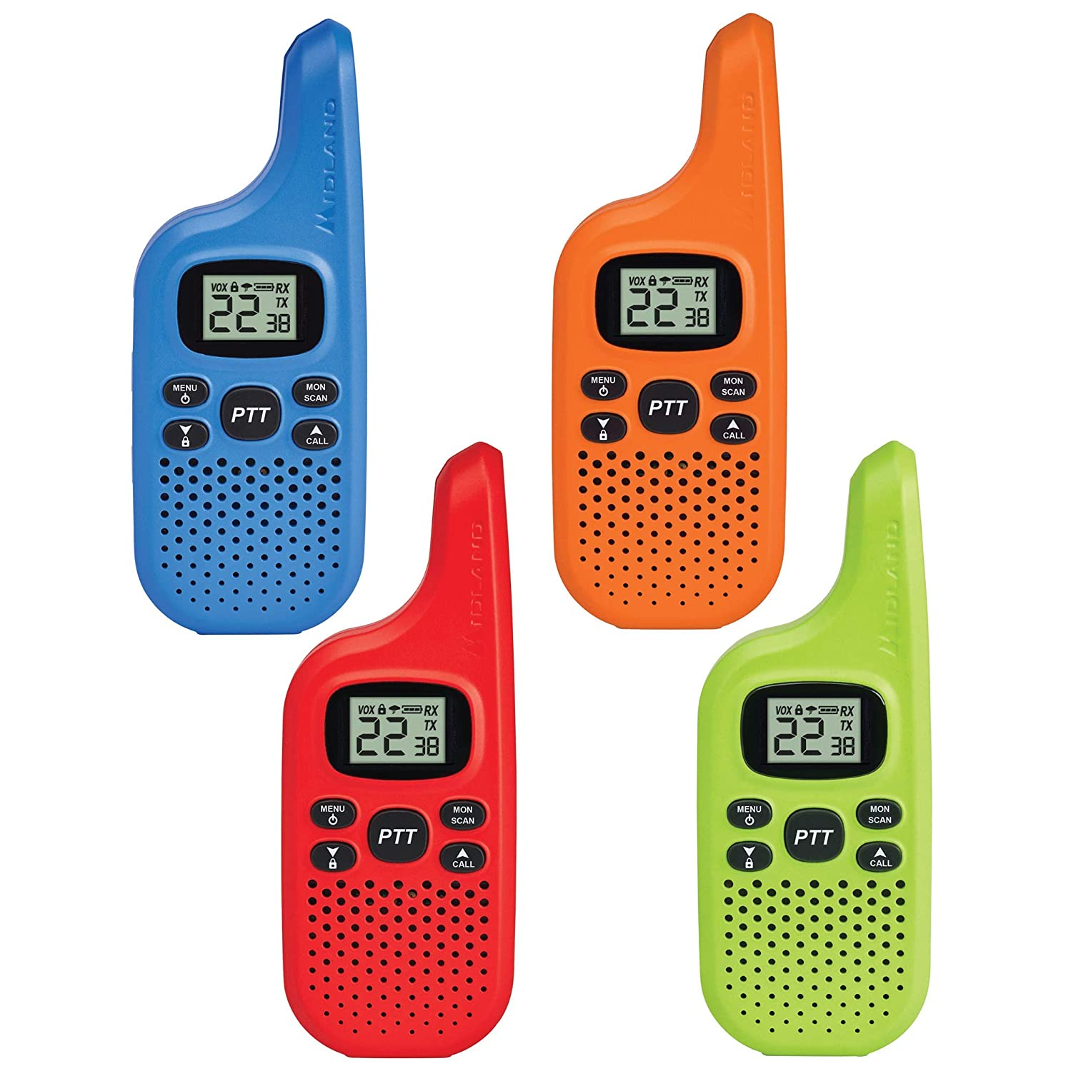 Midland – X-TALKER T20X4, Bright Colors Fun for Kids 22 Channel FRS Walkie Talkie – Two-Way Radio, 38 Privacy Codes, NOAA Weather Alert 4 Pack Multi-Color
