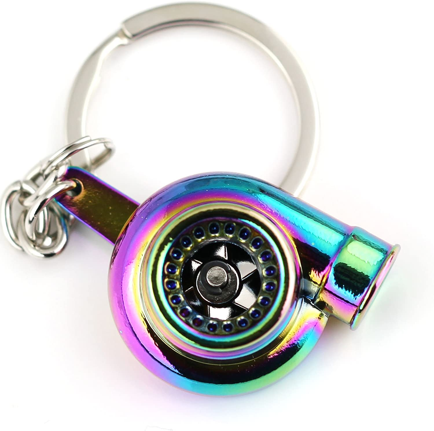 Maycom Creative Spinning New Charming Polished Black Turbo Turbocharger Keychain Key Chain Ring Keyring Keyfob,make Whistle Sound