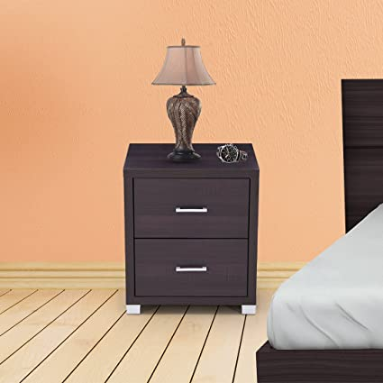 704e888d92e Royaloak Berlin Bedside Table with 2 Drawers (Chocolate)  Amazon.in  Home    Kitchen