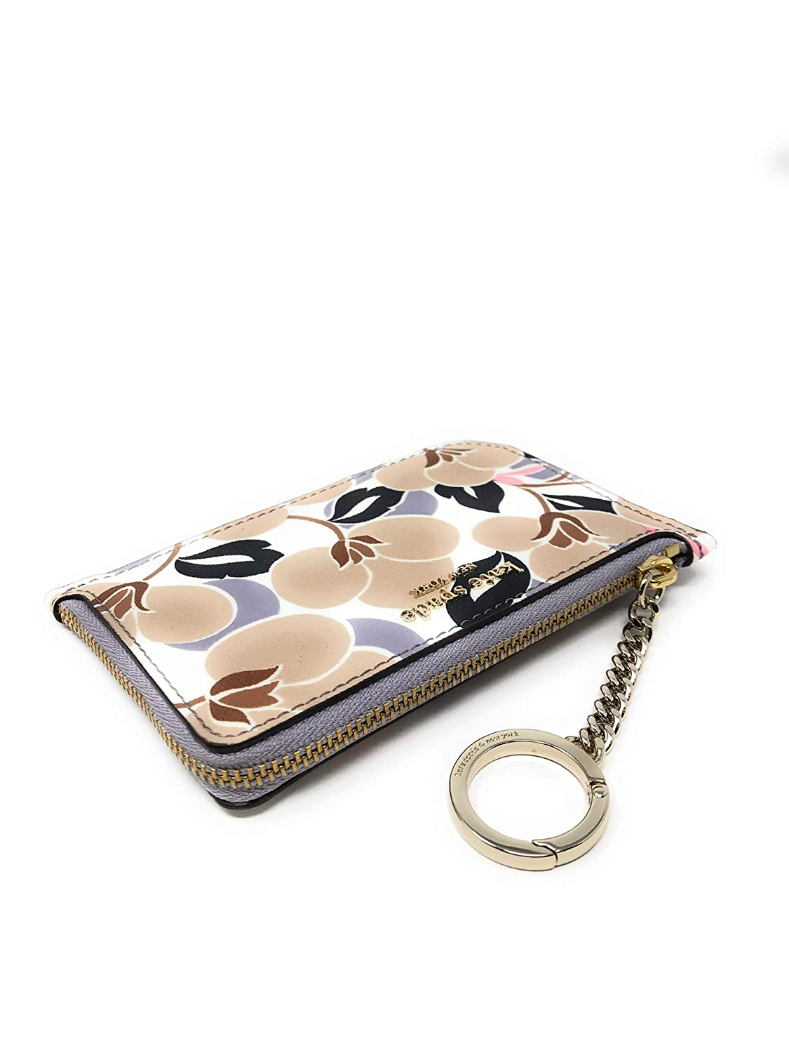 Kate Spade New York Medium L-Zip Card Case Holder Keychain Ring Floral Neutral