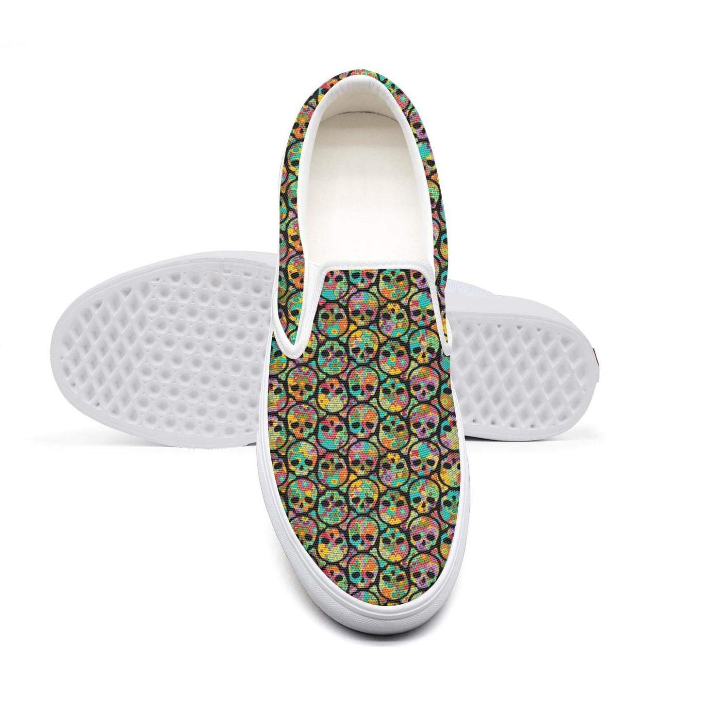 Day of The Dead-Sugar Skull Womens Flat Sports Leisure Fashion Canvas Sneakers Casual
