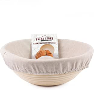 (22 cm) Round Banneton Proofing Basket Set - Brotform Handmade Unbleached Natural Cane For homemade Crusty Fresh, Easy to Bake Bread With Professional Marks Rising dough Bread Kit with washable Cloth Liner