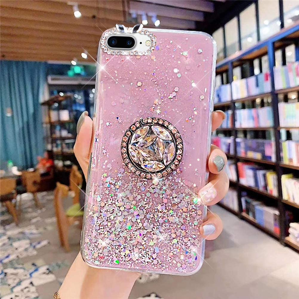 PHEZEN iPhone 7 Plus//8 Plus Case Bling Glitter Clear Sparkle Case for Women Girls,Shiny Star Slim Soft Silicone Gel TPU Rubber Bumper Phone Case Cover with Ring Kickstand for iPhone 8 Plus,Pink