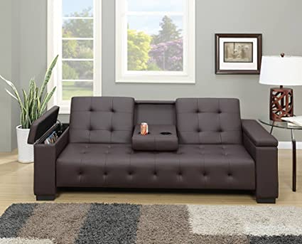 Amazon.com: Poundex Edda Espresso Faux Leather Adjustable Sofa Bed ...