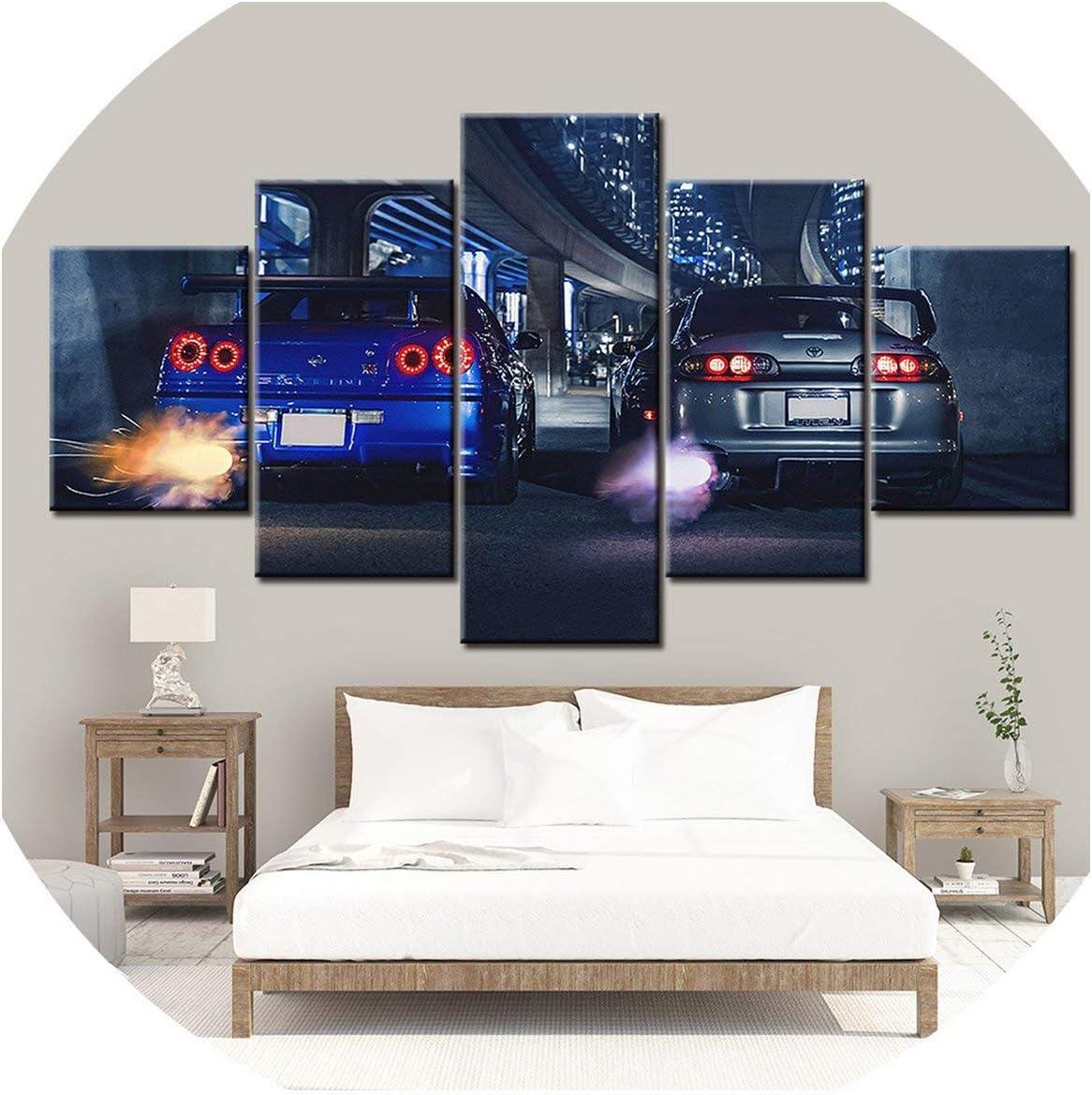 N/A - Cuadro de lienzo impreso en alta definición (5 piezas, marco GTR R34 VS Supra, decoración del hogar, póster para sala de estar NL00,30 x 40 30 x 60 30 x 80 cm), color negro