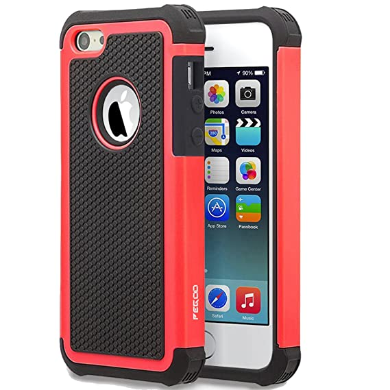 the latest b9d0a ce5e7 iPhone SE Case,iPhone 5 Case, [Football face] Shockproof Durable Hybrid  Dual Layer Armor Defender Full Body Protective Hard Plastic with Soft  Silicone ...