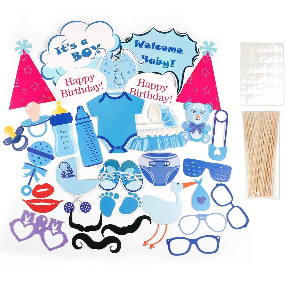 CLE DE TOUS - Pack de 31 piezas Photocall para Bautizo Fiesta Nacimiento Baby Showers Cumpleaño Set Decorativo Cartulinas para fotografías (Azul para ...