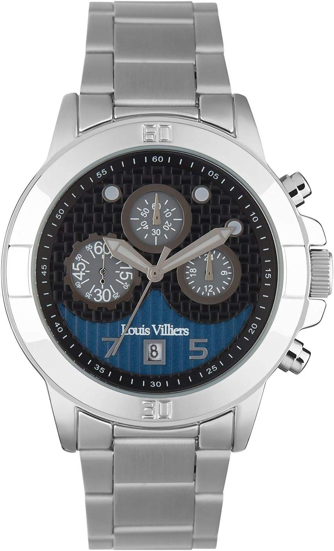 Louis villiers Reloj para Hombre Analógico de Cuarzo con Brazalete de Acero Inoxidable LVP1902