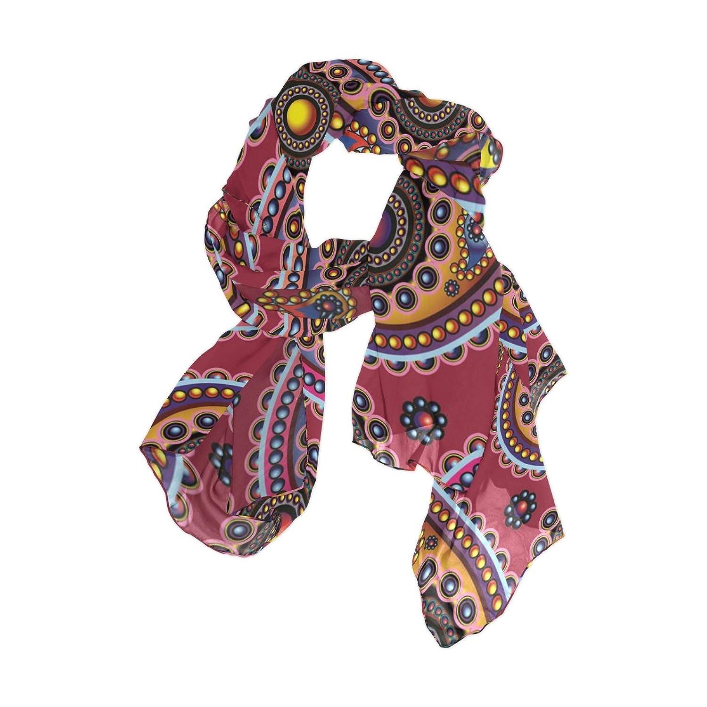 Senya Women's Fashion Large Long Sheer Silk Scarf Shawl Wrap, Paisley Pattern