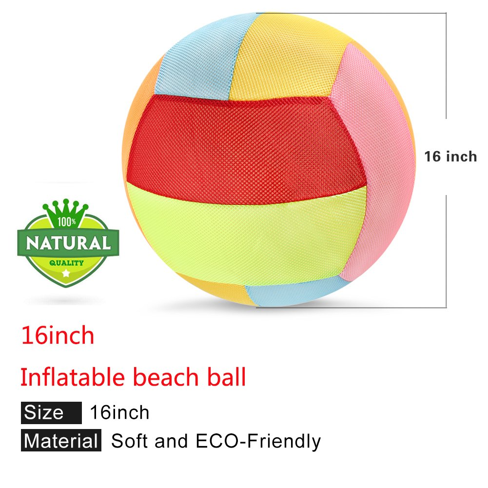 Stylife 16 Inch Rainbow Beach Ball Inflatable 2PCS Colorful Beach Pool Party Toys For Kids And adults