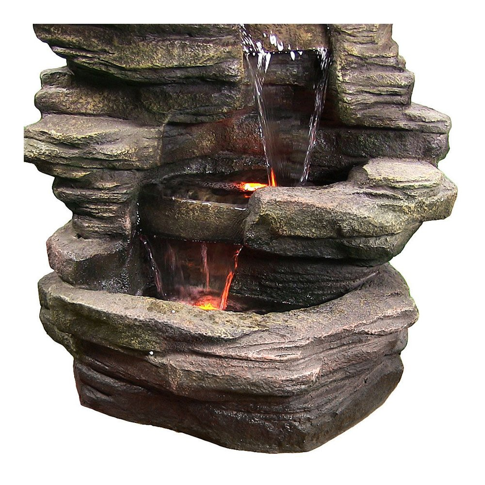 Sunnydaze Stacked Shale Electric Outdoor Waterfall Fountain with LED Lights, 38 Inch Tall
