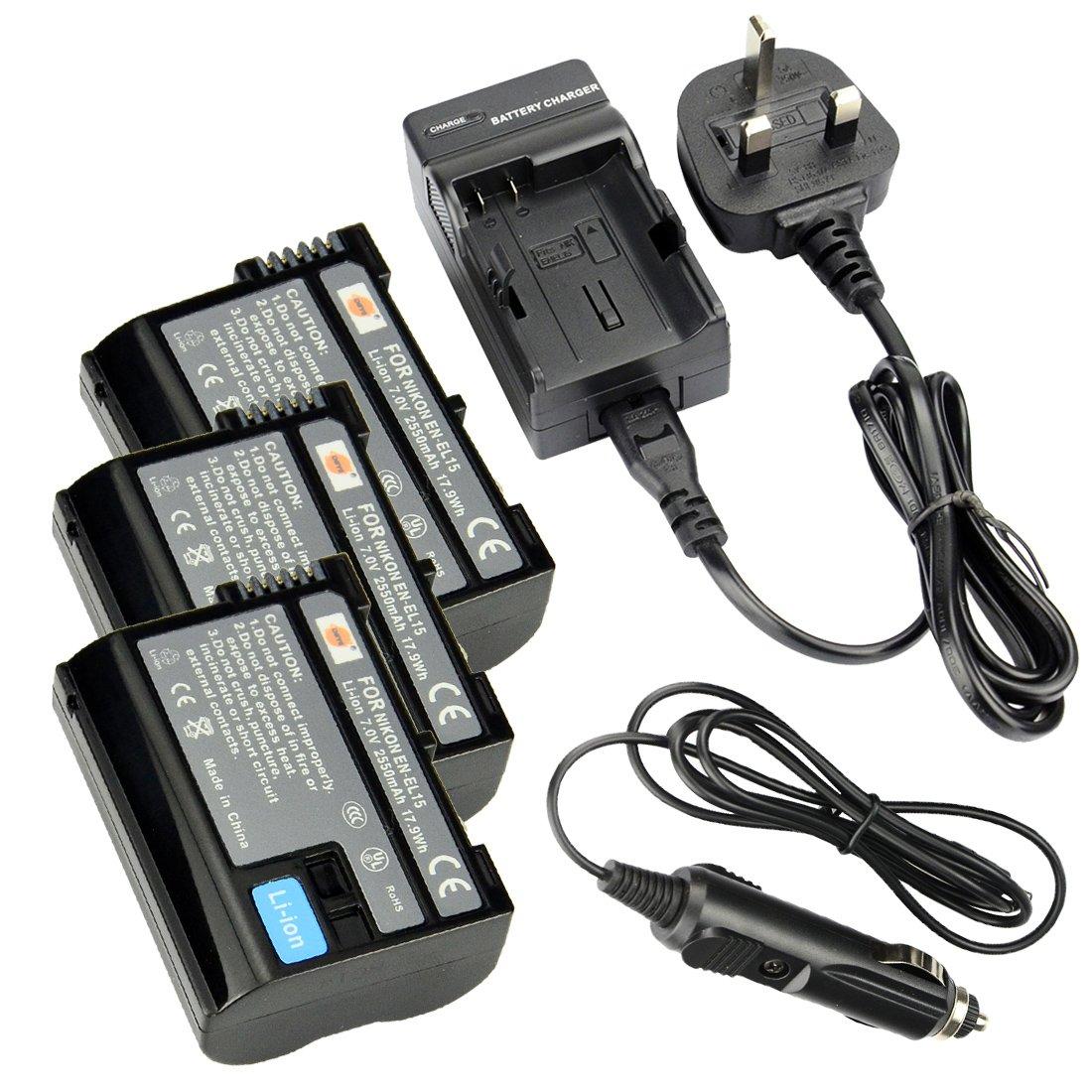 3 x EN-EL15 DSTE Batería recargable de litio-ión + DC113U de viaje ...