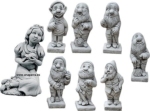 CATART Figura Decorativa Blancanieves y 7 enanitos en hormigón-Piedra para el jardín Exterior: Amazon.es: Jardín
