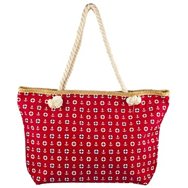 265c358b0 Large Canvas Beach Bag with Soft Rope Handles - Aztec/Anchor/Shell (BZ4530