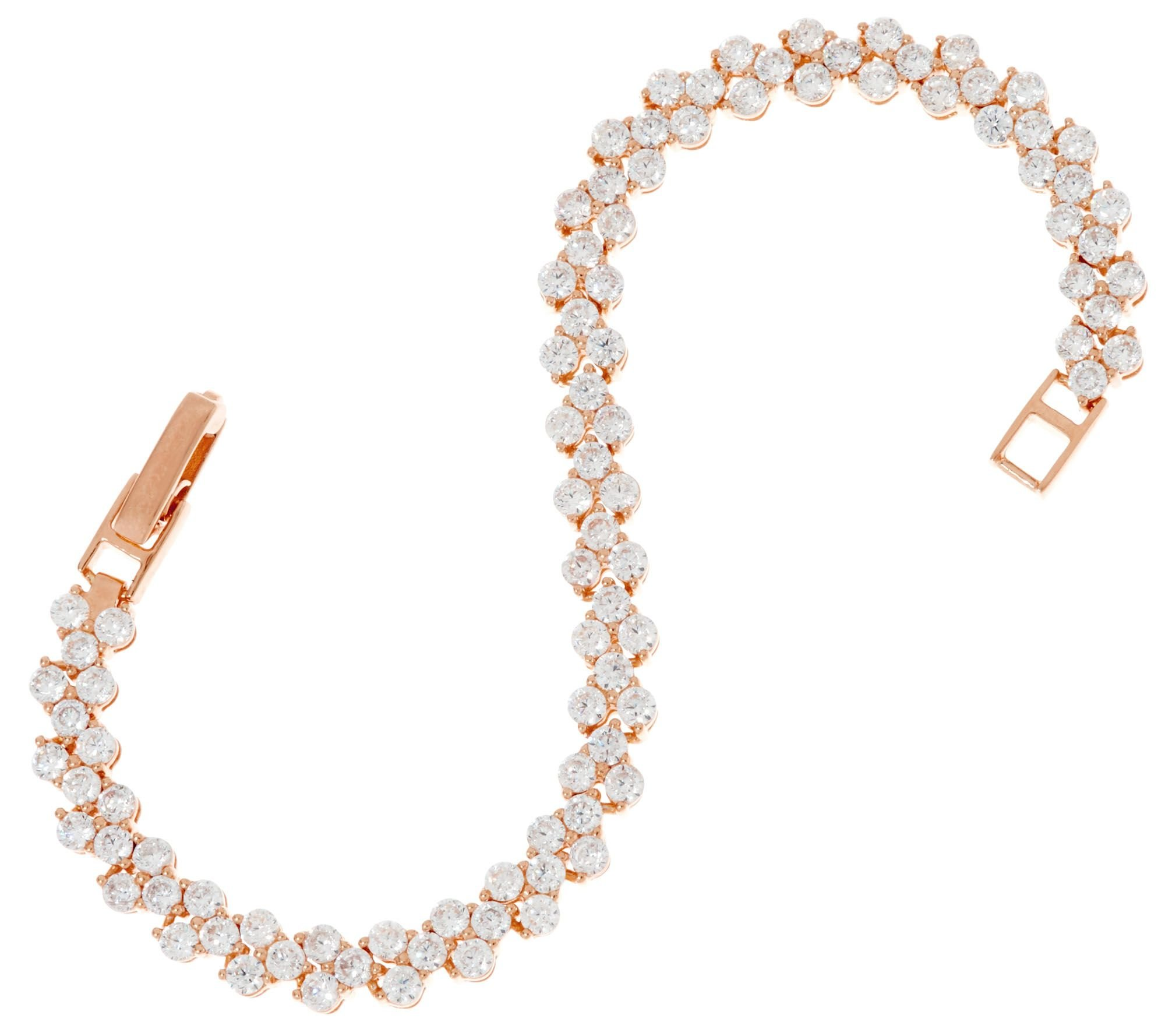 Smjewels 4.95 cttw Round Cut D/VVS1 Diamond 14K Rose Gold Plated Tennis Bracelet by Smjewels