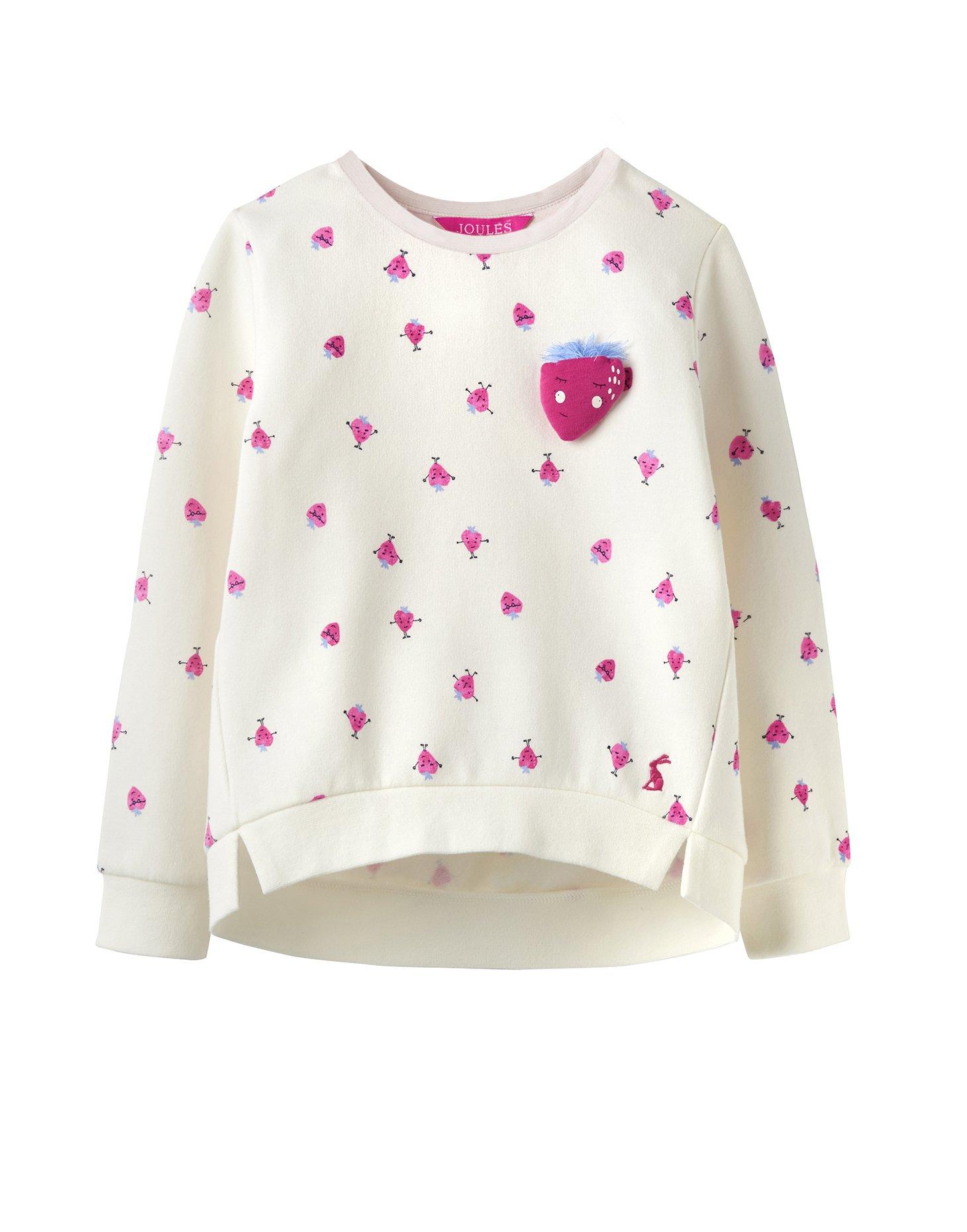Joules Screen Print Sweatshirt - Cream Strawberry Spot - 5 Years - 110 cm by Joules