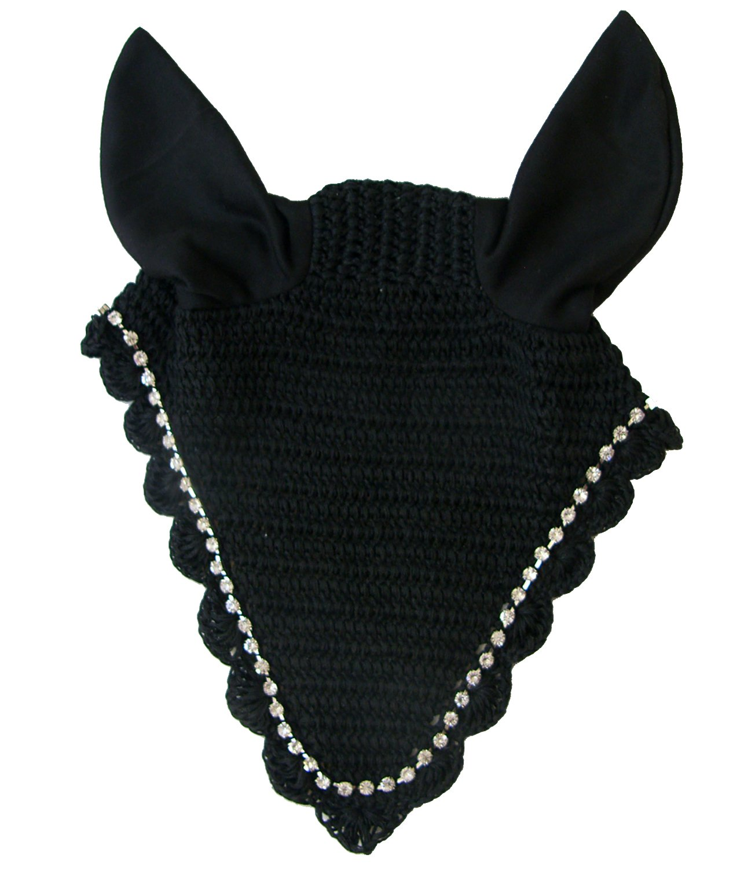 Black Horse Black Horse Intrepid International Crochet Riding Bonnet con Crystals