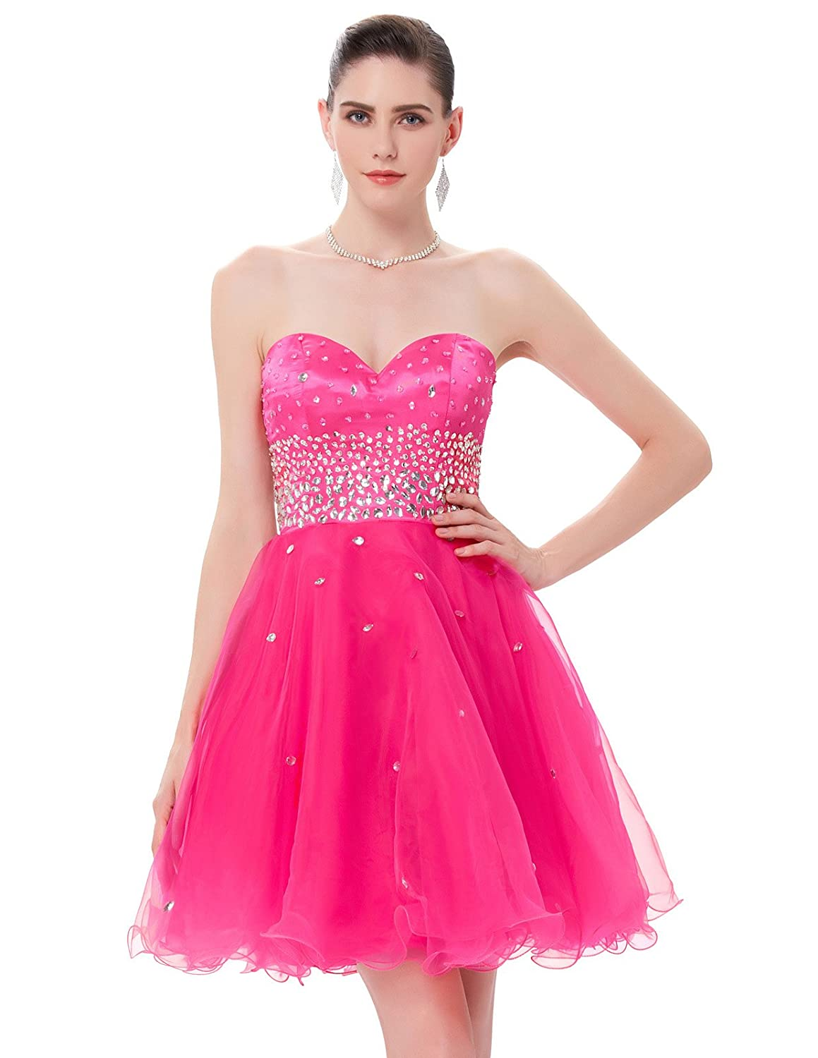 GRACE KARIN Strapless Short Organza Cocktail Dresses CL6145 (Multi-Colored)