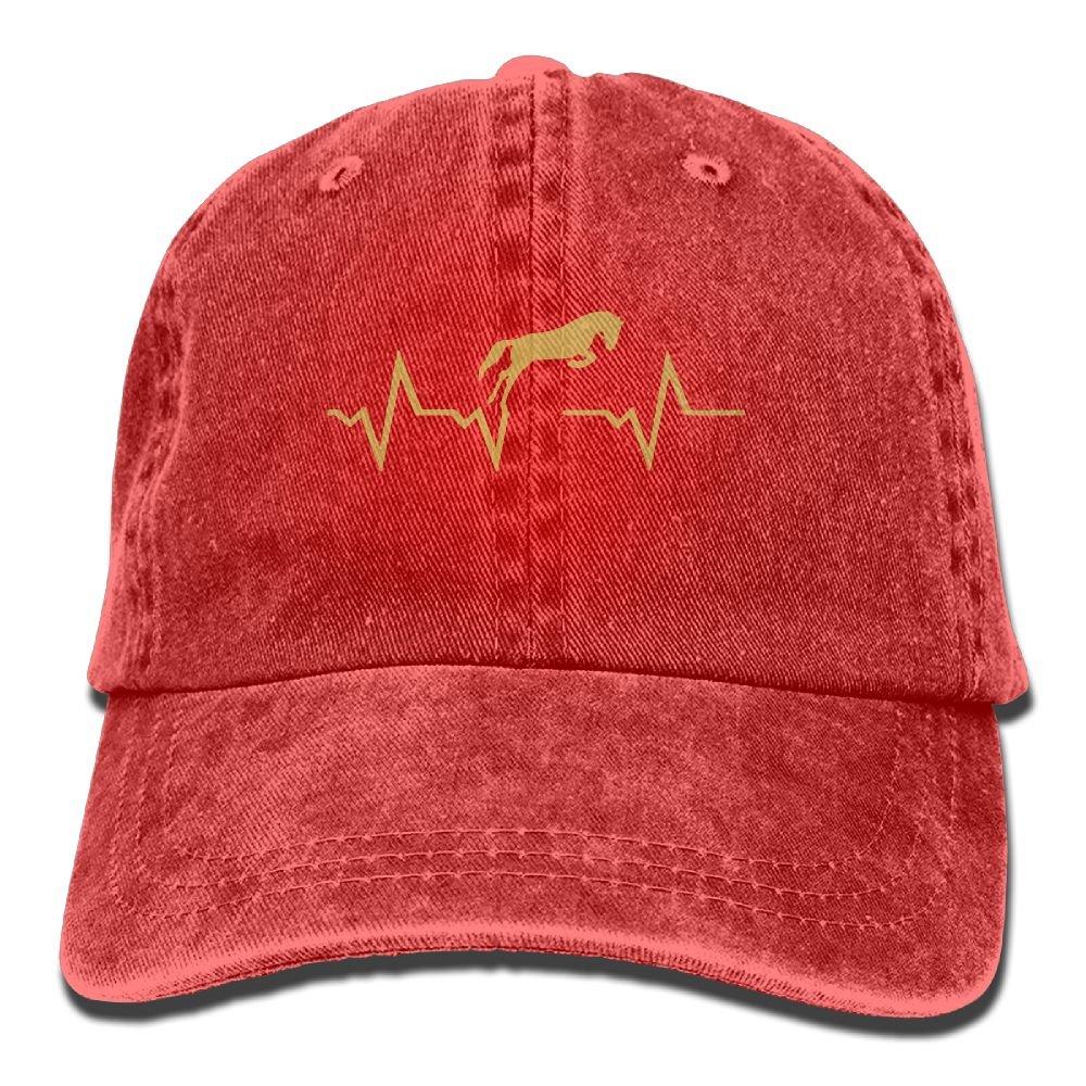 Men Women Horse Heartbeat Denim Jeanet Baseball Hat Adjustable Trucker Cap