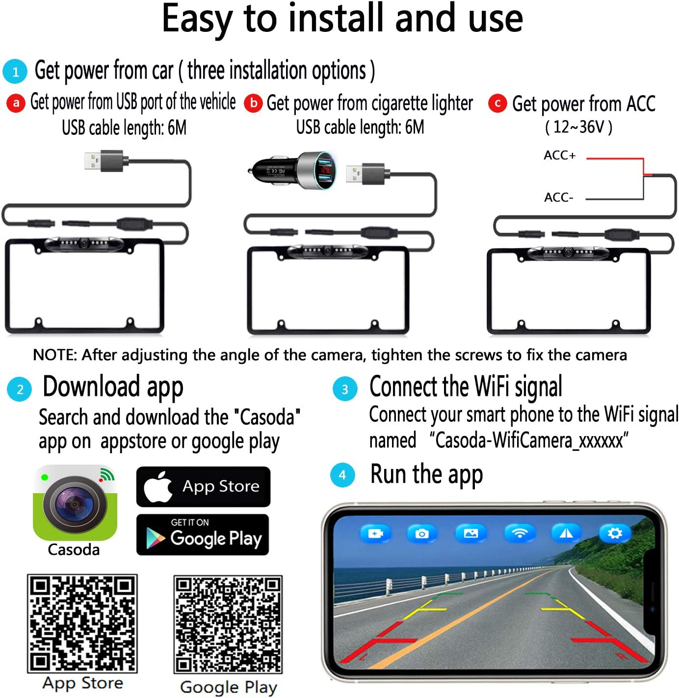 Casoda WiFi License Plate Backup Camera for iPhone and Android,Ultra Strong Signal Smooth Video Image Never Freezing Clear Picture Suitable for Cars Trucks Trailers SUVs Pickups Easy to Install