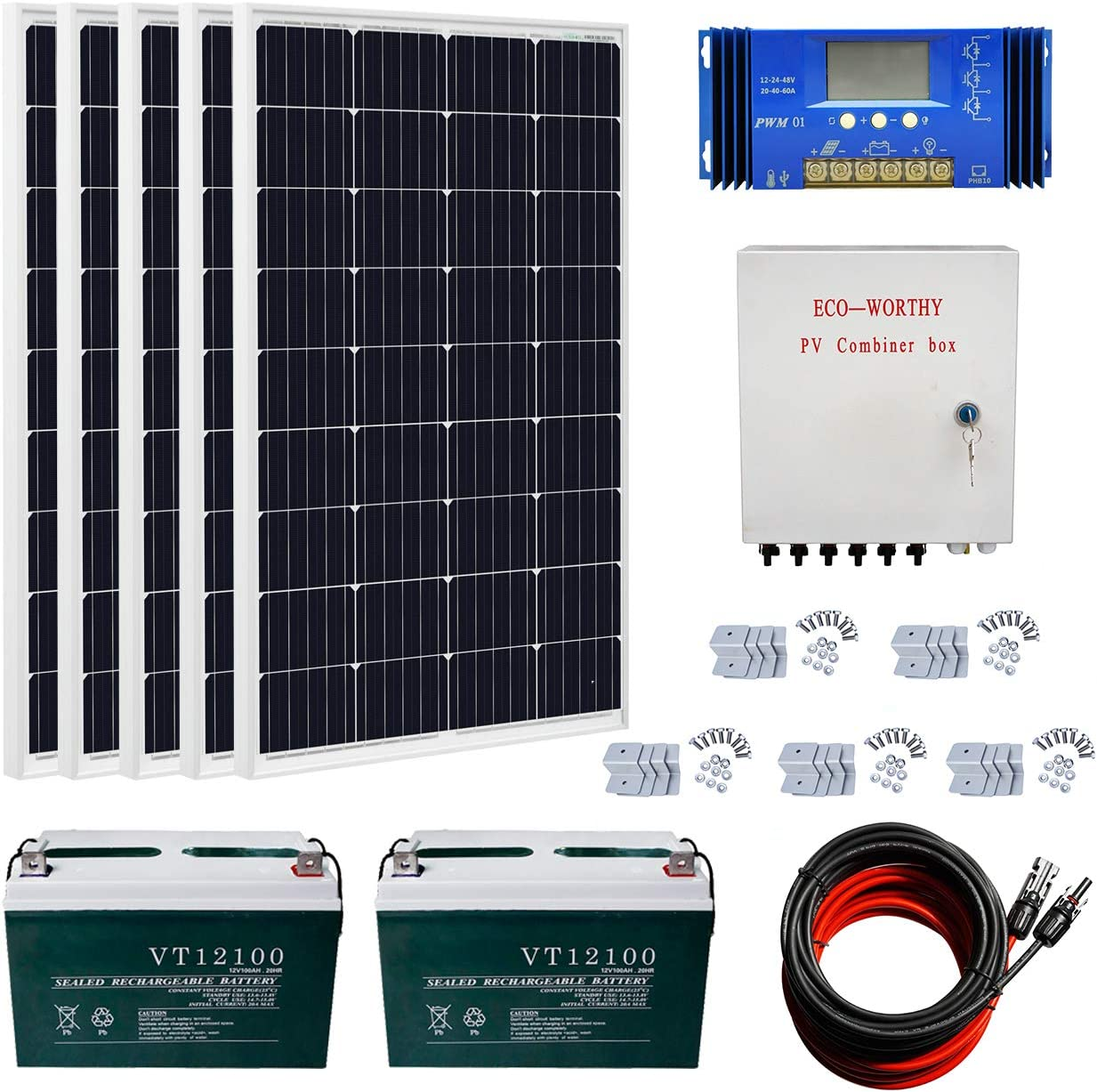 ECO-WORTHY 600 Watts Complete Solar Kit Off Grid 5pcs 120W Mono Solar Panel Module 60 A Charge Controller Combiner Box Solar Cable Z Brackets 200Ah 12V Batterry