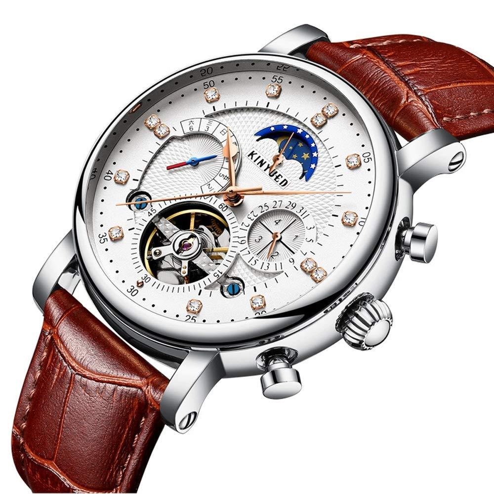 Klocka mekanisk klocka för män kvinnor vattentät lätt äkta läderband multifunktionell armbandsur JFYCUICAN 02white