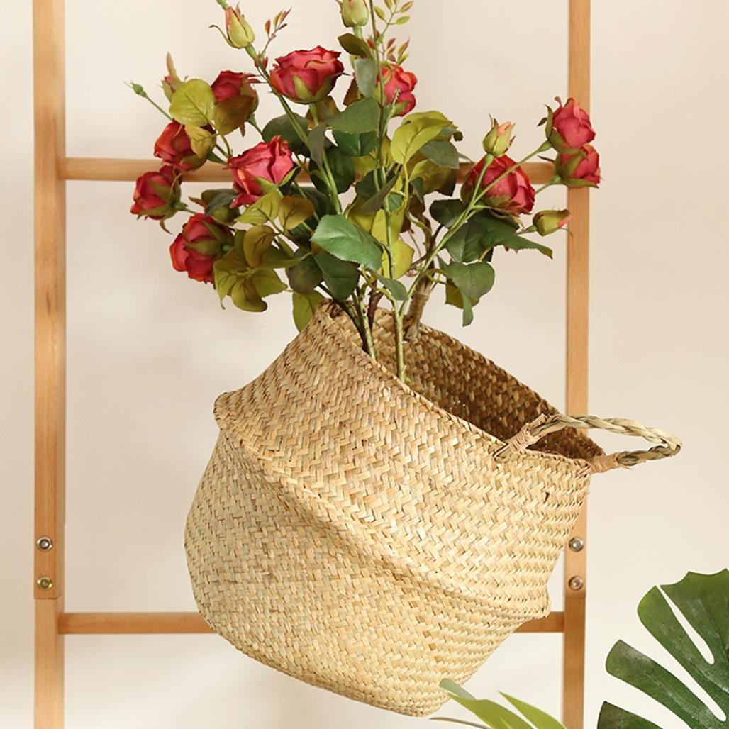 Amazon.com: Clearance! Seagrass Wicker Folding Plant Flower Basket ...