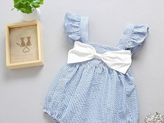 Ularma Baby Girls Summer Striped Bowknot Romper Sleeveless Jumpsuit Clothes
