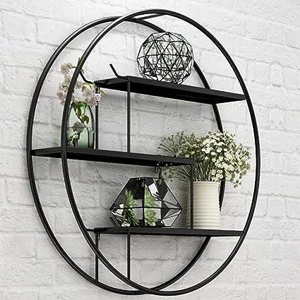 Wall shelf estantería Circular Simple, Negro Pared del Metal montado en estantes Que Viven Inicio decoración de la habitación for los estantes de ...
