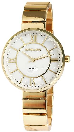 Reloj mujer oro blanco nácar Números Romanos metal Reloj de pulsera