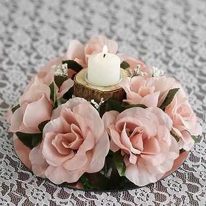 Amazon Balsacircle 8 Blush Silk Roses Candle Rings Artificial