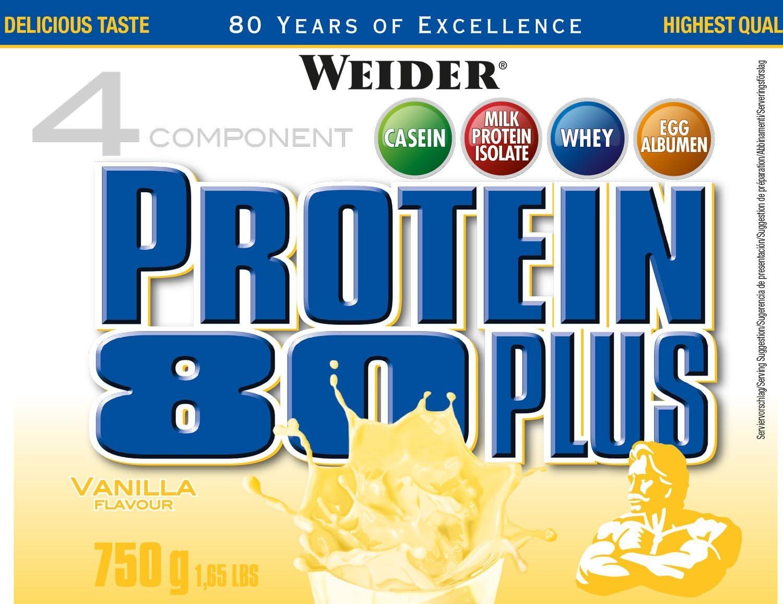 Weider Protein 80 Plus, Proteina de suero de suero de leche, Sabor Vainilla, 750 gr
