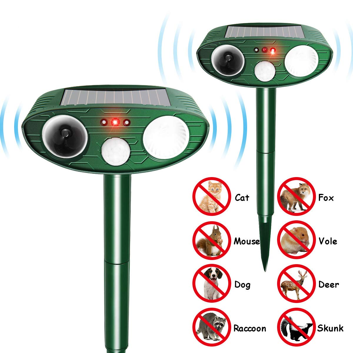 FOCUSPET Animal Ultrasonic Repellent, Outdoor Solar Powered Repellent with Motion Sensor Ultrasonic LED Flash Light, Waterproof Farm Garden Yard Repellent for Cats, Dogs,Raccoons,Skunk(2 Pack)