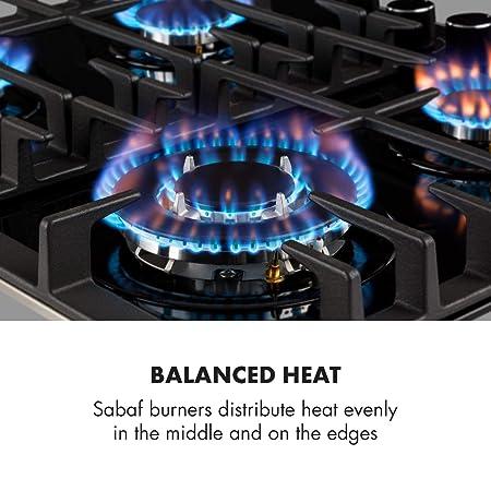Klarstein Ignito 4 zonas Placa de cocina • 4 fogones • Autárquico • 60 cm • Para montar • Quemador Sabaf • Gas natural/propano • Válvula de seguridad ...