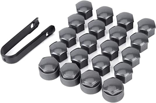 SurePromise 17mm Car Wheel Bolt Nut Cap Cover 20 Pieces with Removal Tool Grey
