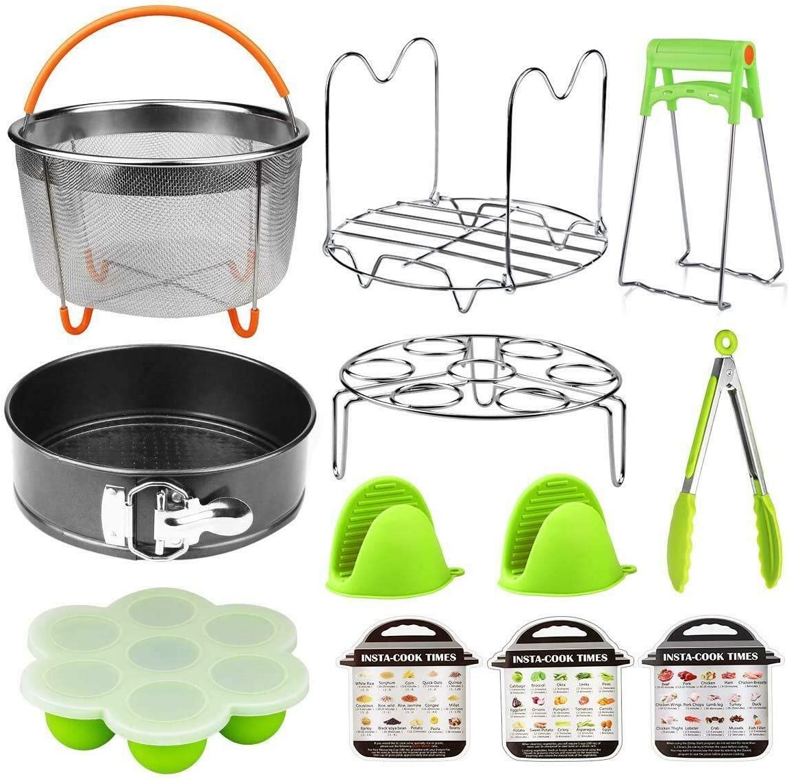 Pressure Cooker Accessories 12 In 1 Set Instant Pot 6, 8 Qt -Steam Cooker Vegetable Steamer Basket, Springform Pan, Egg Steamer Rack, Dish Clip, Steamer Rack trivet Magnetic Cheat Sheets and so on