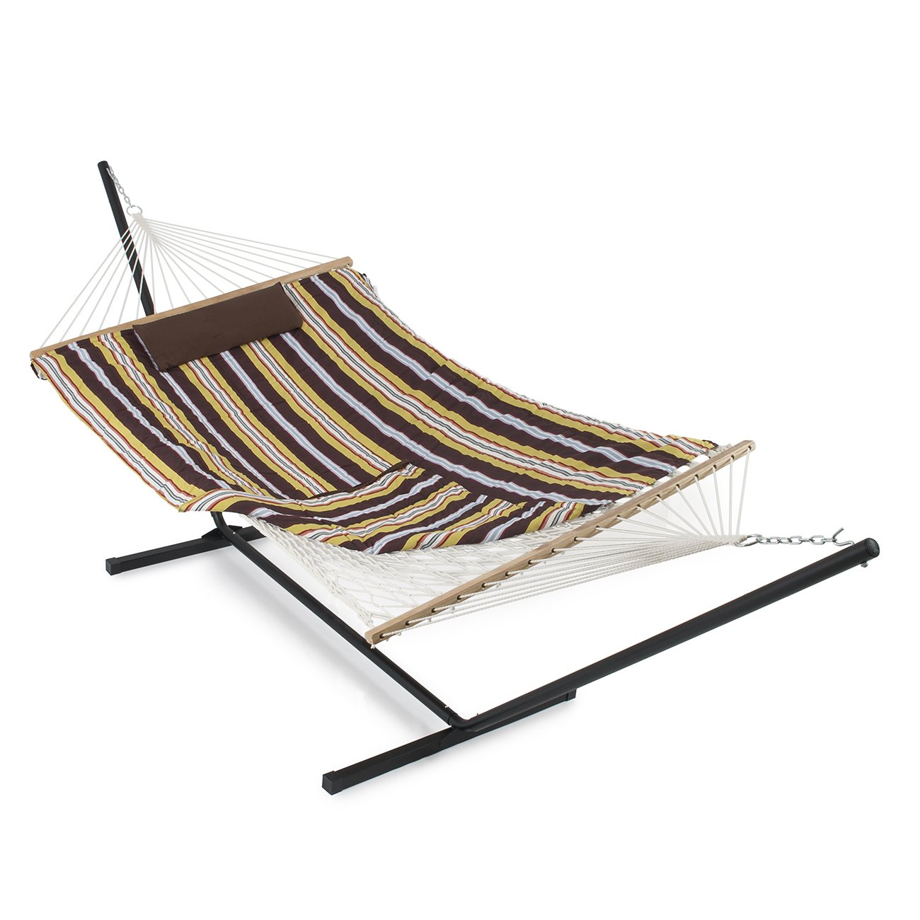 daze combo steel and with lazy quilted hammocks pad cotton hammock rope citrus feet polyester pillow red stand