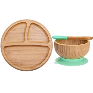 Baby Plates and Bowls Set - Baby Wood Bowls and Baby Wood Plates Set with Baby Spoons Bamboo Suctions Plates Bamboo Baby Bowls for Infant Baby or Toddler Kids Feeding Holder (Cyan-Blue)
