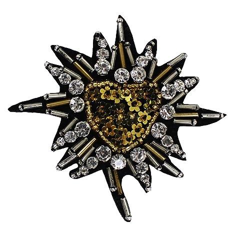 2pieces DIY oro corazón parches de tela cristal decoración ...