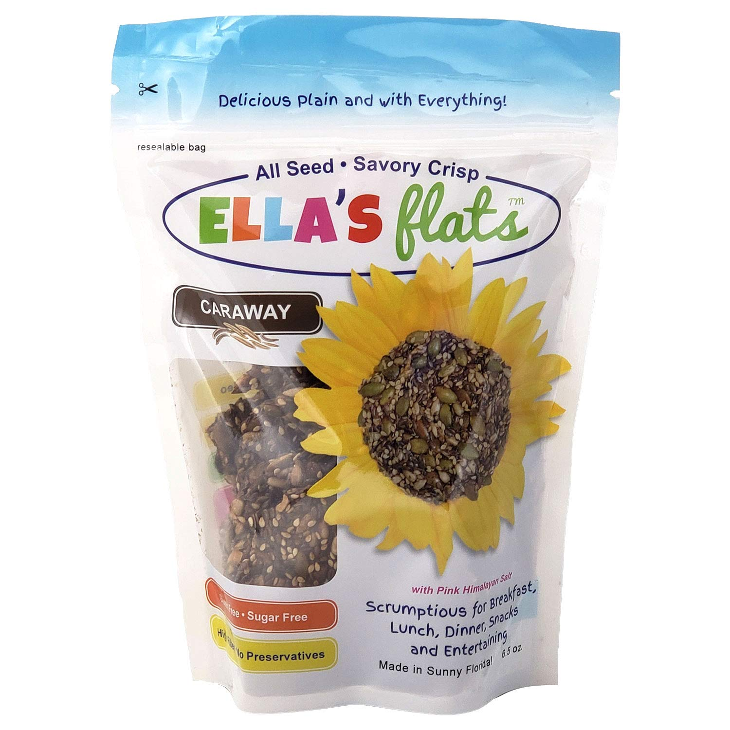 ELLA'S FLATS All Seed Savory Crisps - CARAWAY (6.5oz Resealable Bag) - 3 PACK - Gluten Free, Sugar Free, Grain Free, High Fiber, Low Carb, Vegan, Keto, Paleo