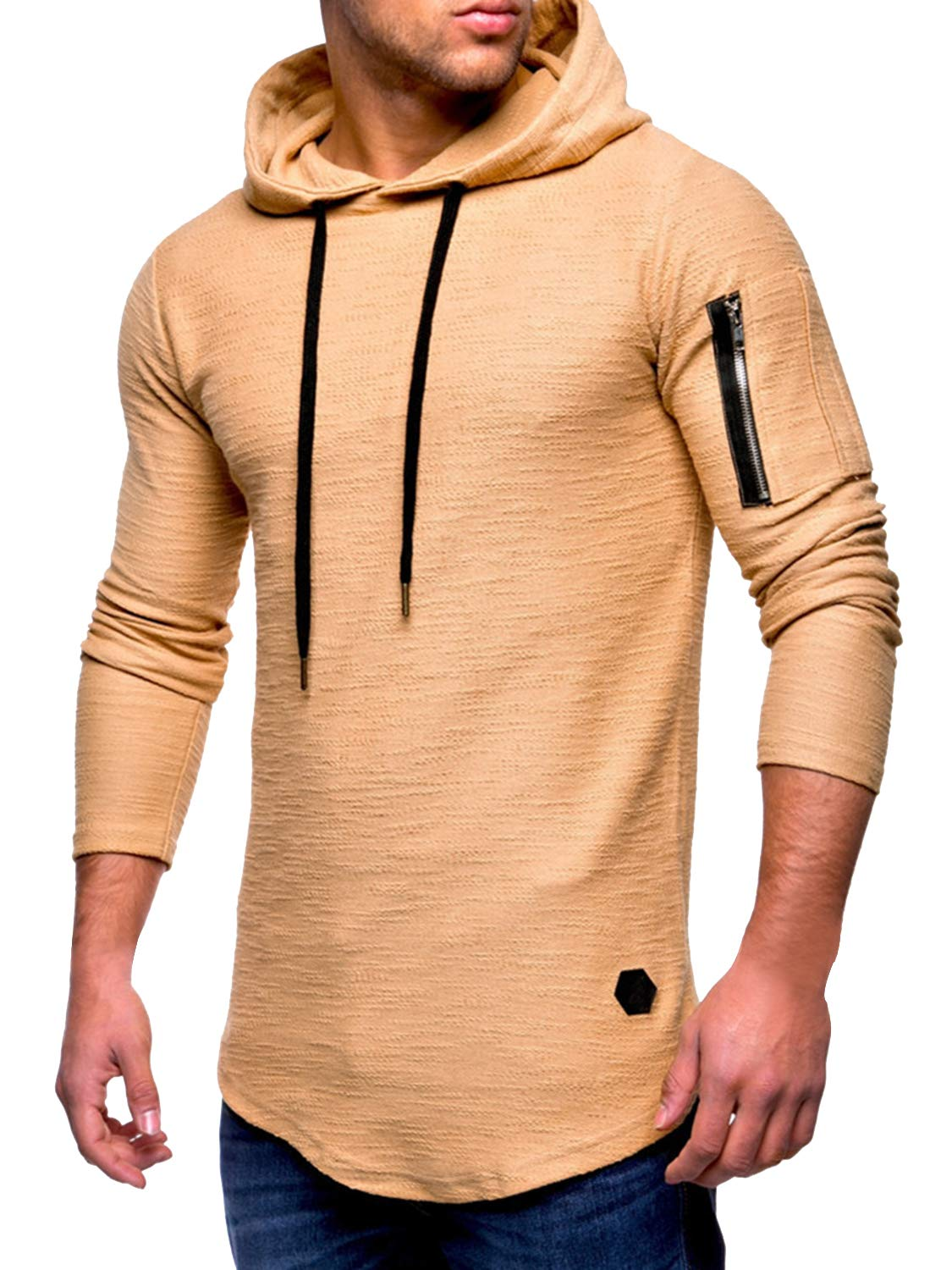 AitosuLa Men's Slim Fit Long Sleeve T-Shirt Tops Solid Crew Neck Tunic Tee Casual Zipper Sport Hoodie Outwear