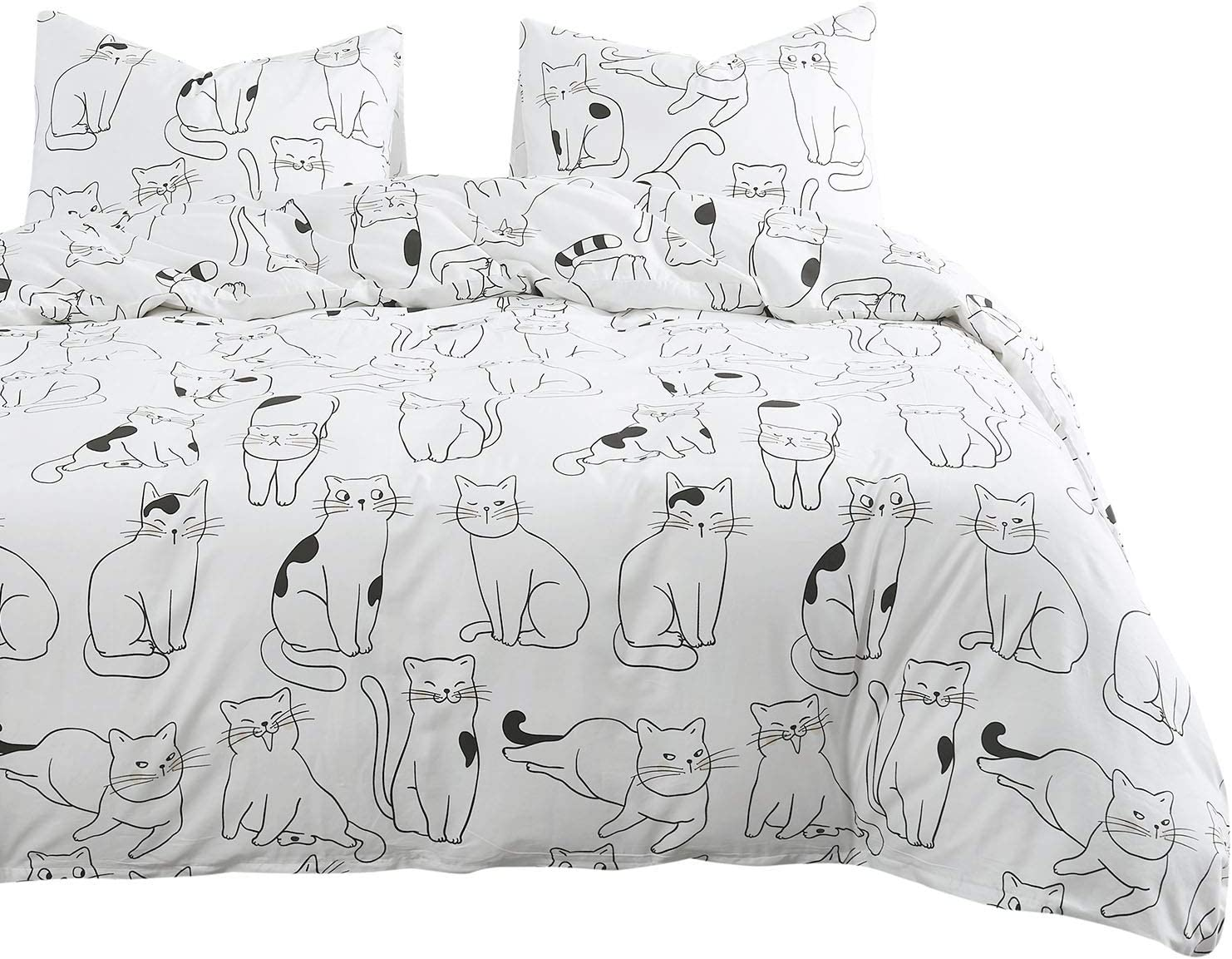Wake In Cloud - Cats Comforter Set, 100% Cotton Fabric with Soft Microfiber Fill Bedding, White with Cats Drawing Pattern Printed (3pcs, Queen Size)