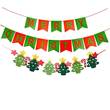 Oululu Merry Christmas Banner , Decoration Bunting Banner for Xmas Party  (Letter + Trees)