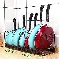 Pot Organizer Rack for Cabinet, Expandable 7+ Pans Pots Lid Organizer Rack Holder, Adjustable Kitchen Cabinet Pantry…
