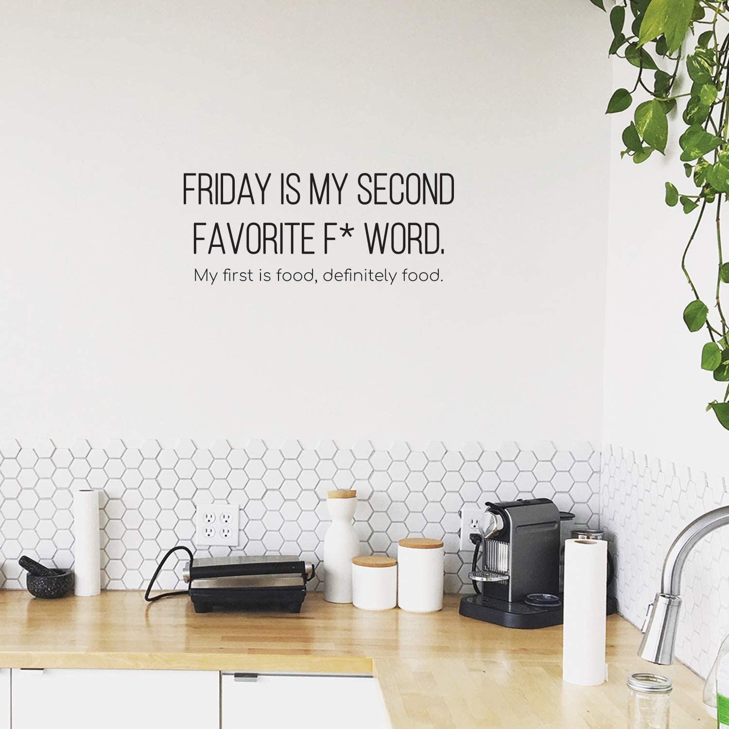 "Vinyl Wall Art Decal - Friday is My Second Favorite F Word My First is Food - 10"" x 25"" - Trendy Funny Humorous Quote for Home Apartment Bedroom Living Room Kitchen Restaurant Decoration Sticker"